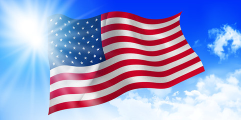 アメリカ  国旗 空 背景