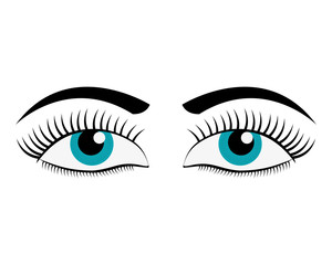 flat design female cartoon eyes icon vector illustration