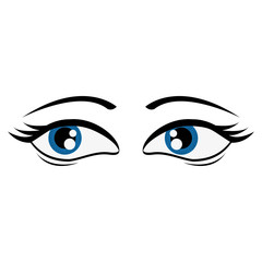 flat design tired femenine cartoon eyes icon vector illustration