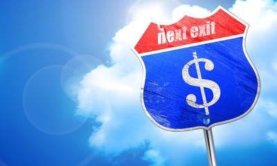 dollar sign, 3D rendering, blue street sign