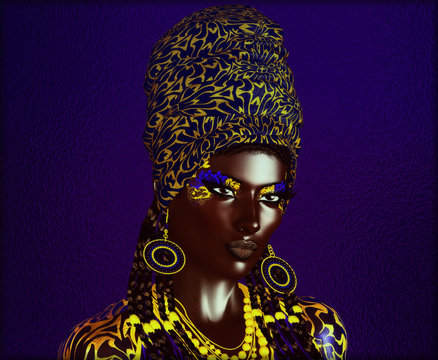 African American Fashion Beauty, Abstract. Perfect for expressing themes of fashion, diversity, hairstyles, beauty and makeup. 3d digital art render