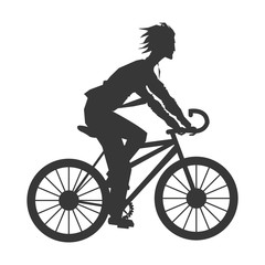 flat design man riding bike silhouette icon vector illustration