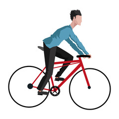 flat design man riding bike icon vector illustration