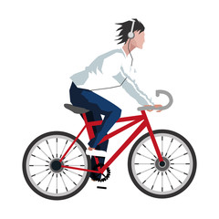 flat design man riding bike with headphones icon vector illustration