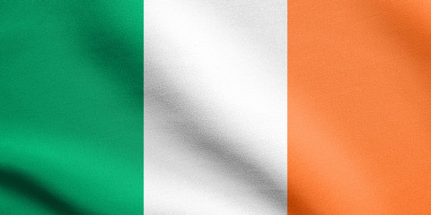 Flag of Ireland waving in wind with fabric texture