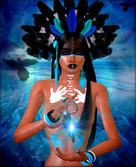 Native American Indian with painted face and feathers. Great image for expressing themes on diversity, culture, heritage beauty and more. Our art is a 3d render