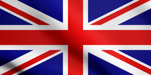 Flag of United Kingdom waving with fabric texture