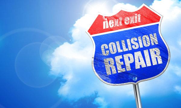 collision repair, 3D rendering, blue street sign