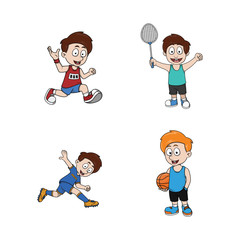 kid sporty illustration design collection