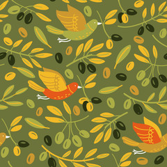 Seamless pattern made of olives and birds