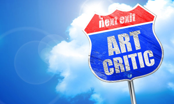 art critic, 3D rendering, blue street sign