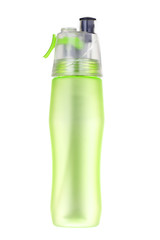 Green flask plastic isolated for put drinking water on white bac