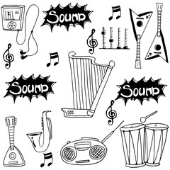 Doodle of music set collection vector