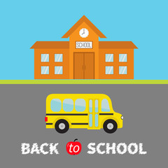 Back to school banner set. School building with clock and windows. City construction. Yellow school bus kids on the road. Side view. Cartoon education clipart collection. Flat design.
