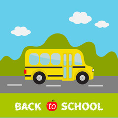 Yellow school bus kids. Green grass and road. Cartoon clipart. Transportation. Full face view. Baby collection. Back to school. Greeting card. Flat design. Cute nature background with sky clouds.