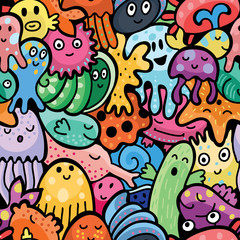 Wall Mural - Sea animals seamless pattern. Vector background
