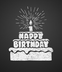 Cake with a candle and happy birthday text. Vector illustration on the chalkboard