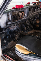 Old rusty cart interior, selective focus