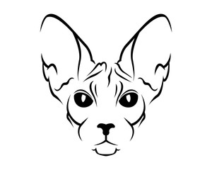 Cat Breed Line Art Logo - Sphynx