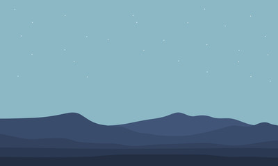 Vector illustration landscape of hill silhouettes