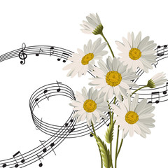 Daisies with music notes.