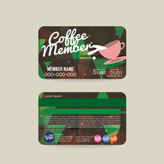 Front And Back Coffee Voucher Of Member Card Template Vector Illustration.