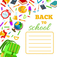 Back To School cover for children teenagers school exercise book. Vector set Illustration.Back to School phrase with colorful school items and supplies composition. Education and web design concept.