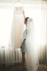 Luxury bride on the morning of wedding day
