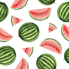 Watercolor seamless pattern with juicy watermelon.