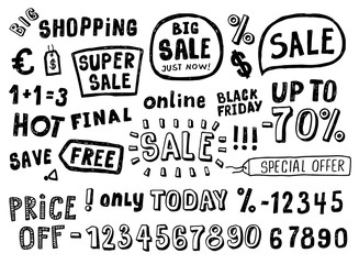 Hand Drawn Doodle style sale tag, numbers, and labels sketch Elements