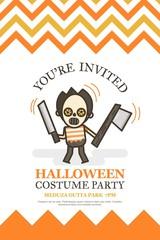 halloween invitation card for costume night party cute kid carto