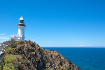 Sunny day Lighthouse at Byron bay australia.