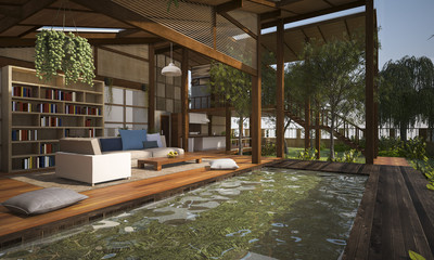 3D rendering contemporary wood living zone with pond