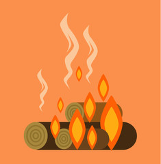 Bonfire with firewood. Vector flat cartoon illustration