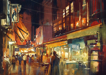 digital painting of people walking in the market at night