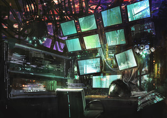 sci-fi creative workspace,digital painting,illustration