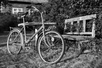 monochrome photo bicycle on a rural nature