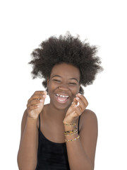 Afro girl laughing out loud, thirteen years old, isolated