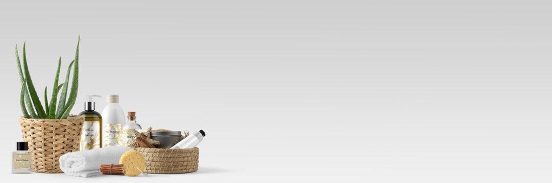 Verschiedene Pflegeprodukte, Handtuch, Aloe Vera - Spa und Beauty – Banner