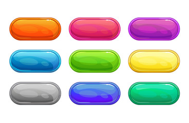 Colorful long horizontal glossy buttons