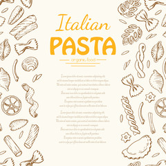 Vertical background with Italian pasta