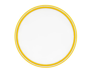 Blank Yellow Uniform Patch. 3d Rendering