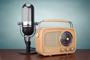 Old Style Photo. Retro Radio and Vintage Microphone. 3d Renderin