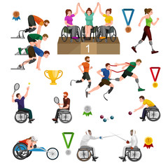 sport for people with prosthesis, physical activity and competition for invalid, disabled athletic game isolated concept