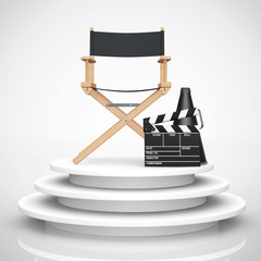 Director Chair, Movie Clapper and Megaphone over Round Stage. 3d