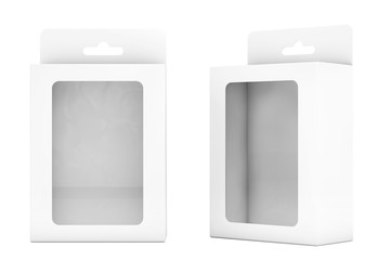 Product Package Blister Boxes With Hang Slot. 3d Rendering