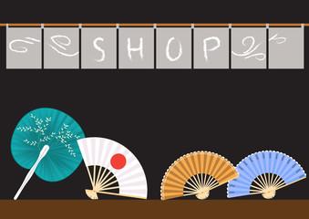 Set of decorative folding fans,vector illustrations