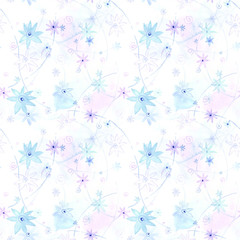 blue stars and flowers, seamless pattern, watercolor abstract background
