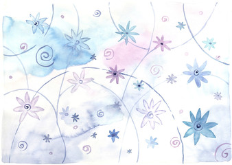 watercolor abstract background, blue stars and flowers
