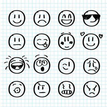 Set of hand drawn smiles on realistic paper
